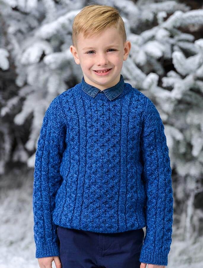 Kid's Traditional Aran Merino Wool Sweater