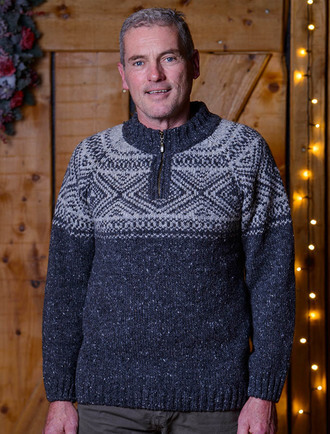 Half Zip Wool Troyer Sweater