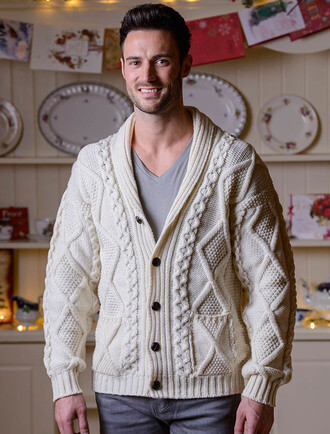Men's Shawl Neck Diamond Cardigan
