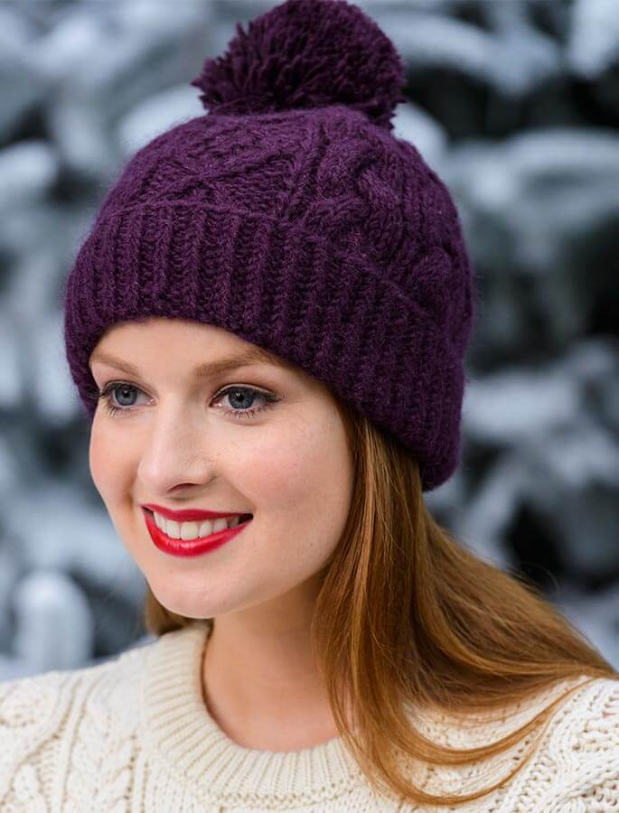 Aran Fleece Lined Rib Cap with Pom