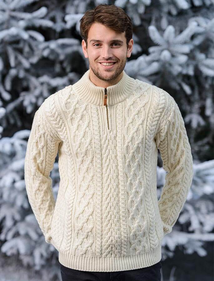 Zip-Neck Aran Sweater