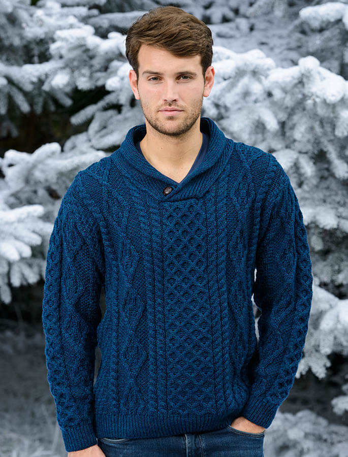 Shawl Neck Honeycomb Sweater