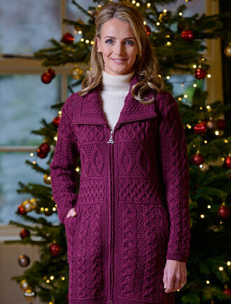 Double Collar Merino Aran Coat