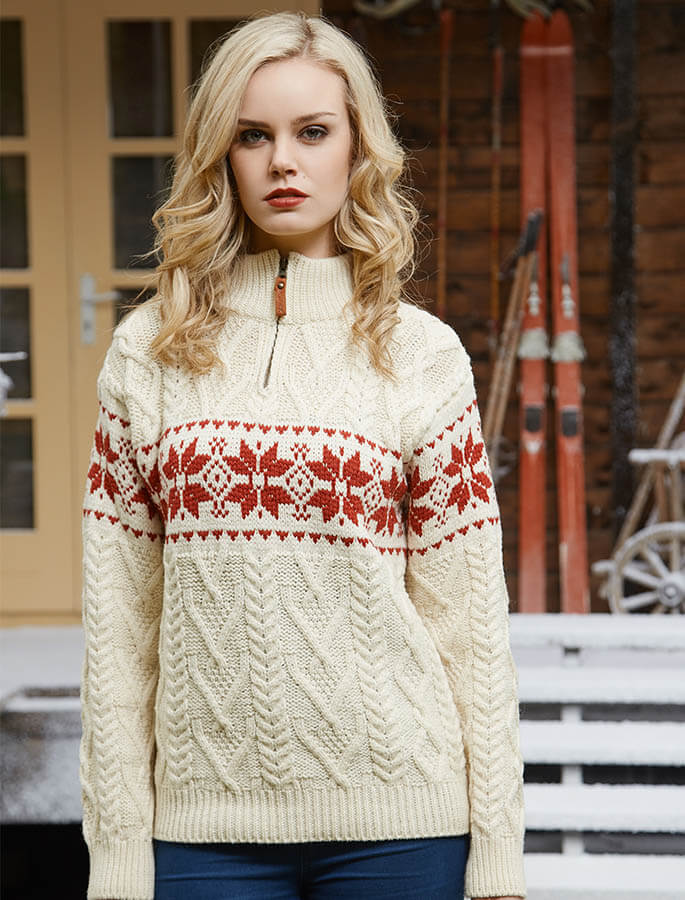 Women's Snowflake Zip-Neck Aran