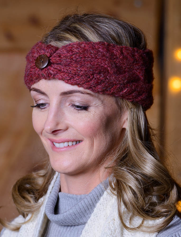 Fleece Lined Aran Cable Headband with Button