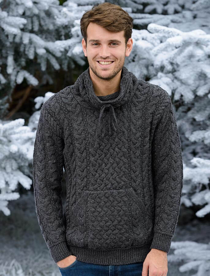 Men's Cowl Neck Aran Sweater